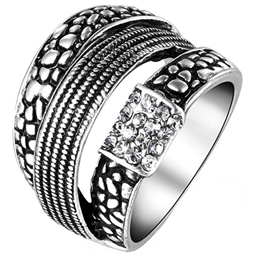 TEMEGO Oxidized Art Deco Craved Engraved Stone Silver Ring,Cluster Small Cubic Zirconia Milgrain Ring