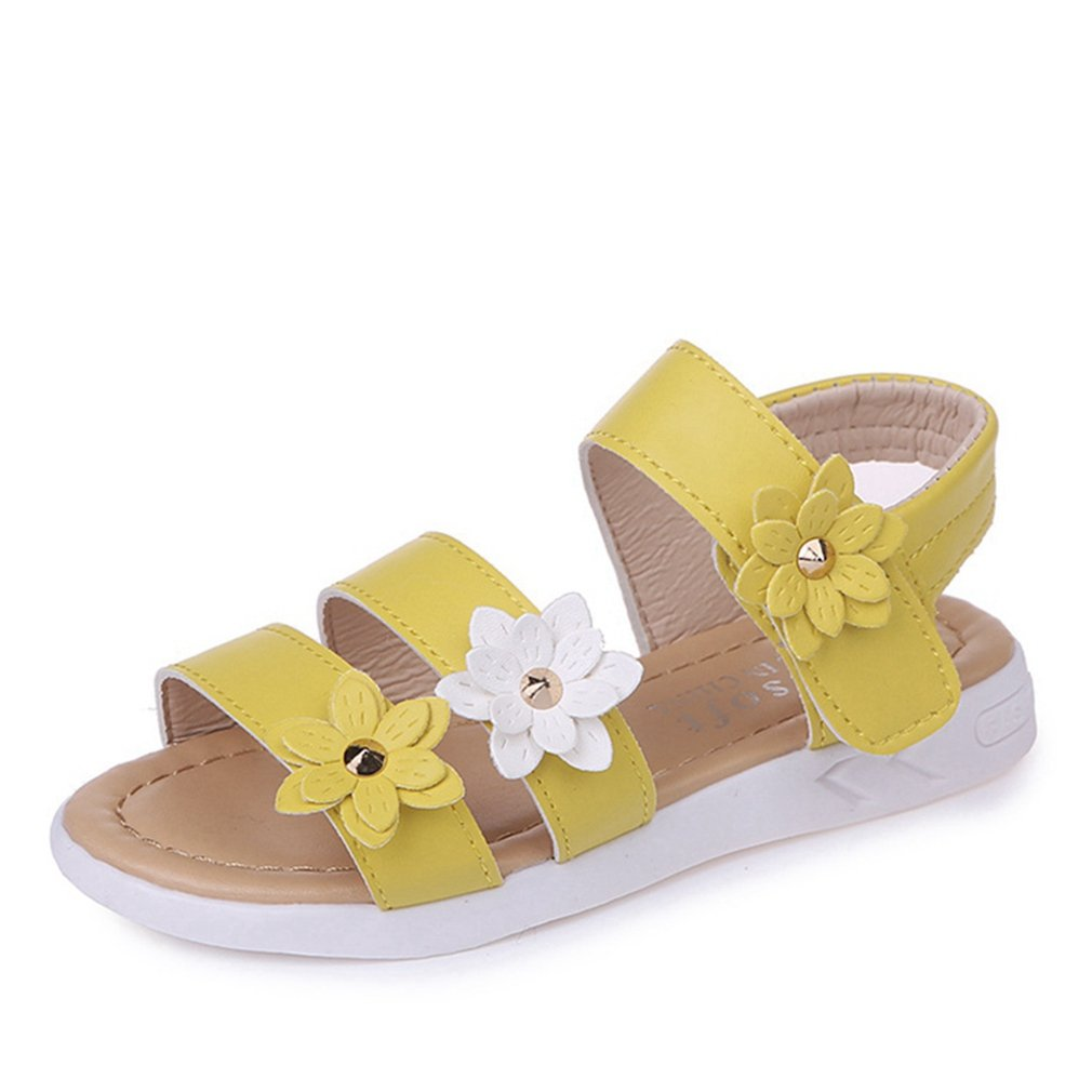CYBLING Girls Kids Flat Sandals Princess Flower Strappy Open Toe Beach Shoes