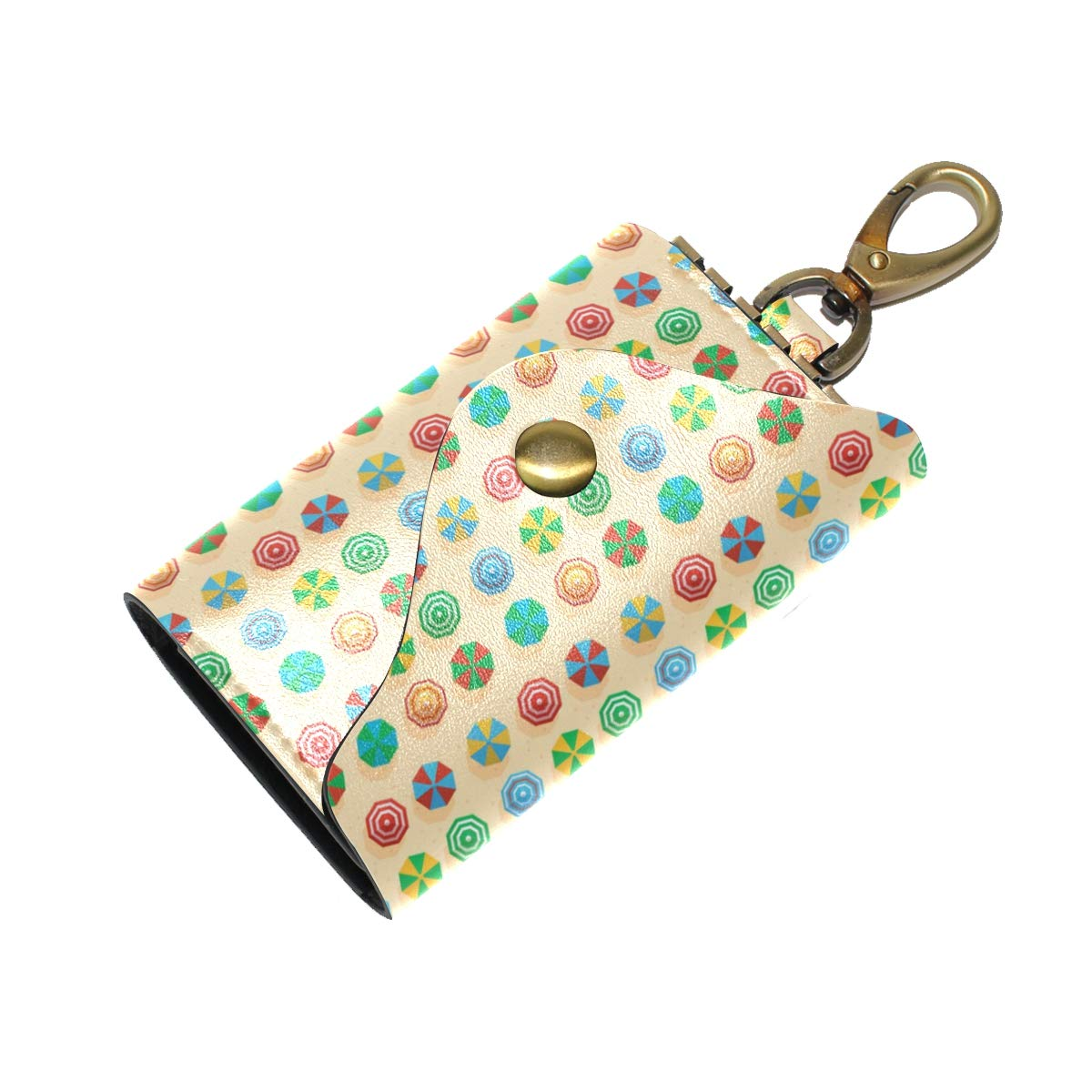 KEAKIA Umbrellas Pattern Leather Key Case Wallets Tri-fold Key Holder Keychains with 6 Hooks 2 Slot Snap Closure for Men Women