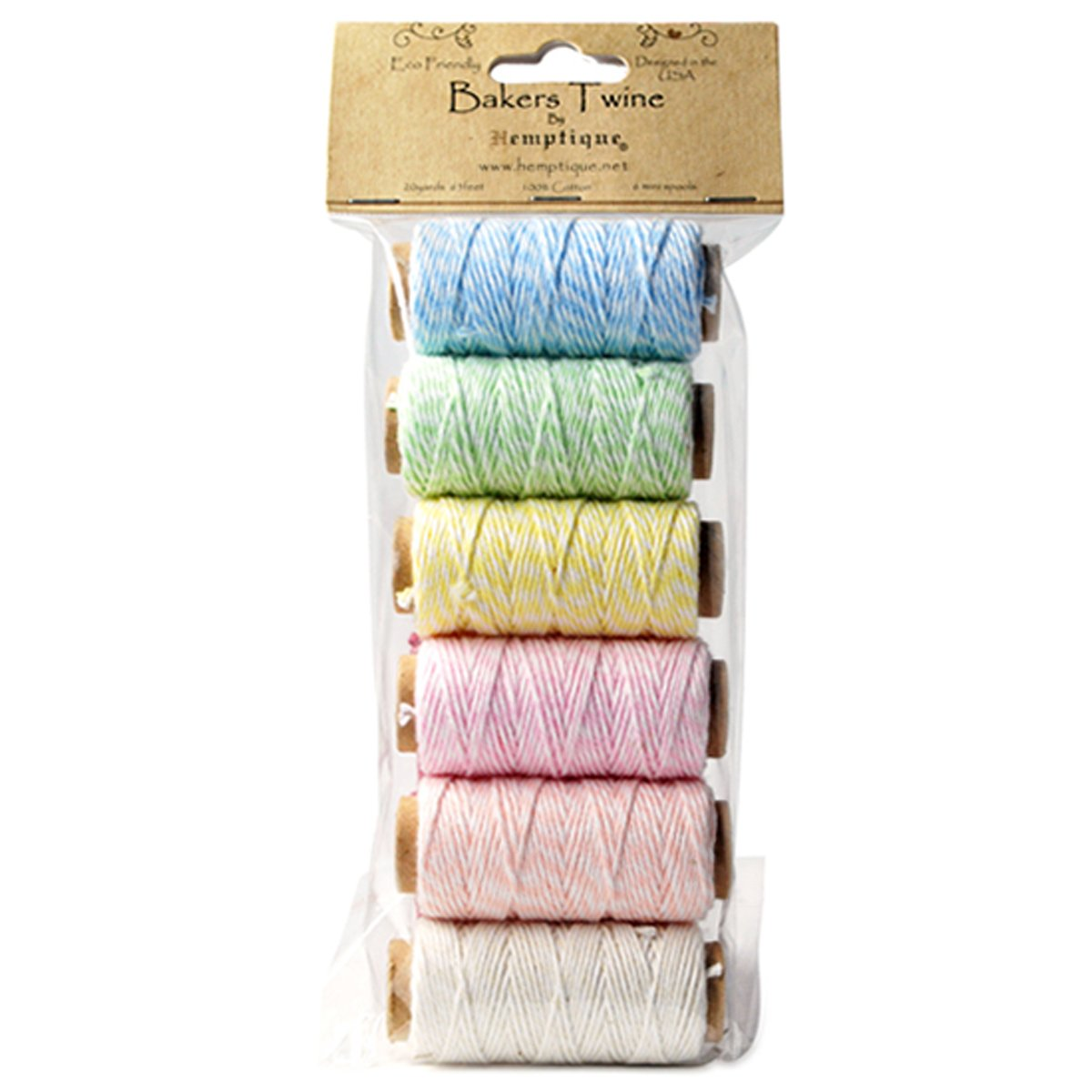 Hemptique Cotton Baker's Twine Spool Set, Mini, Creamy Pastel by Hemptique