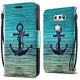 FINCIBO LG V30 V30+ Plus Case, Fashionable Flap Wallet Pouch Cover Case + Credit Card Holder with Kickstand For LG V30 V30+ Plus H930 VS996 H931 H932 US998 6 inch - Blue Anchor Wood
