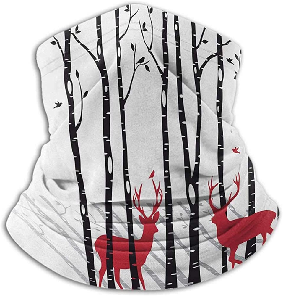 Face Cover Antlers For Dust, Outdoors, Festivals, Sports Deer Tree Forest with Red Holiday Theme Flying Leaves Branch Reindeer Red Black Grey White