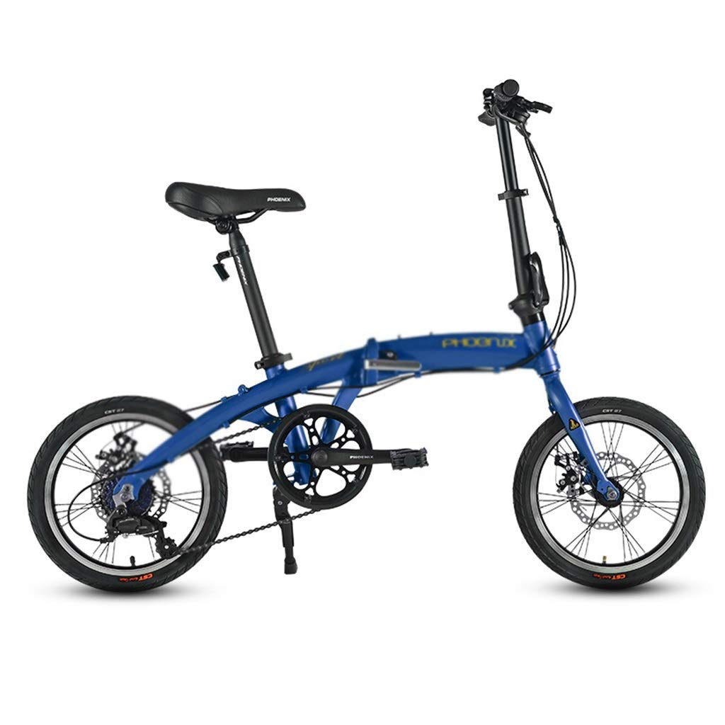 Blau 16inches Kinderfahrräder Fahrrad Single Speed Fahrrad Kind klappfahrrad Mini Fahrrad Junge mädchen Fahrrad, Falten 16 Zoll (Farbe   Blau, Größe   16inches)
