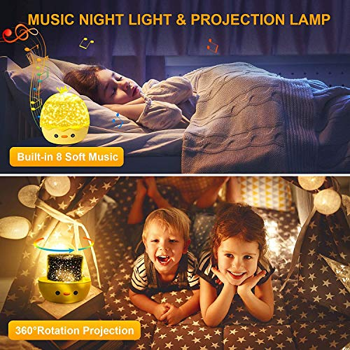Night Light ProjectorStar Projector for Kids Babies Bedroom with Music Portable Smart Sleep Soother with Remote Control Gifts Baby Kids Toys,6 Films 360° Rotation Timer Good for Party,Birthday Gift