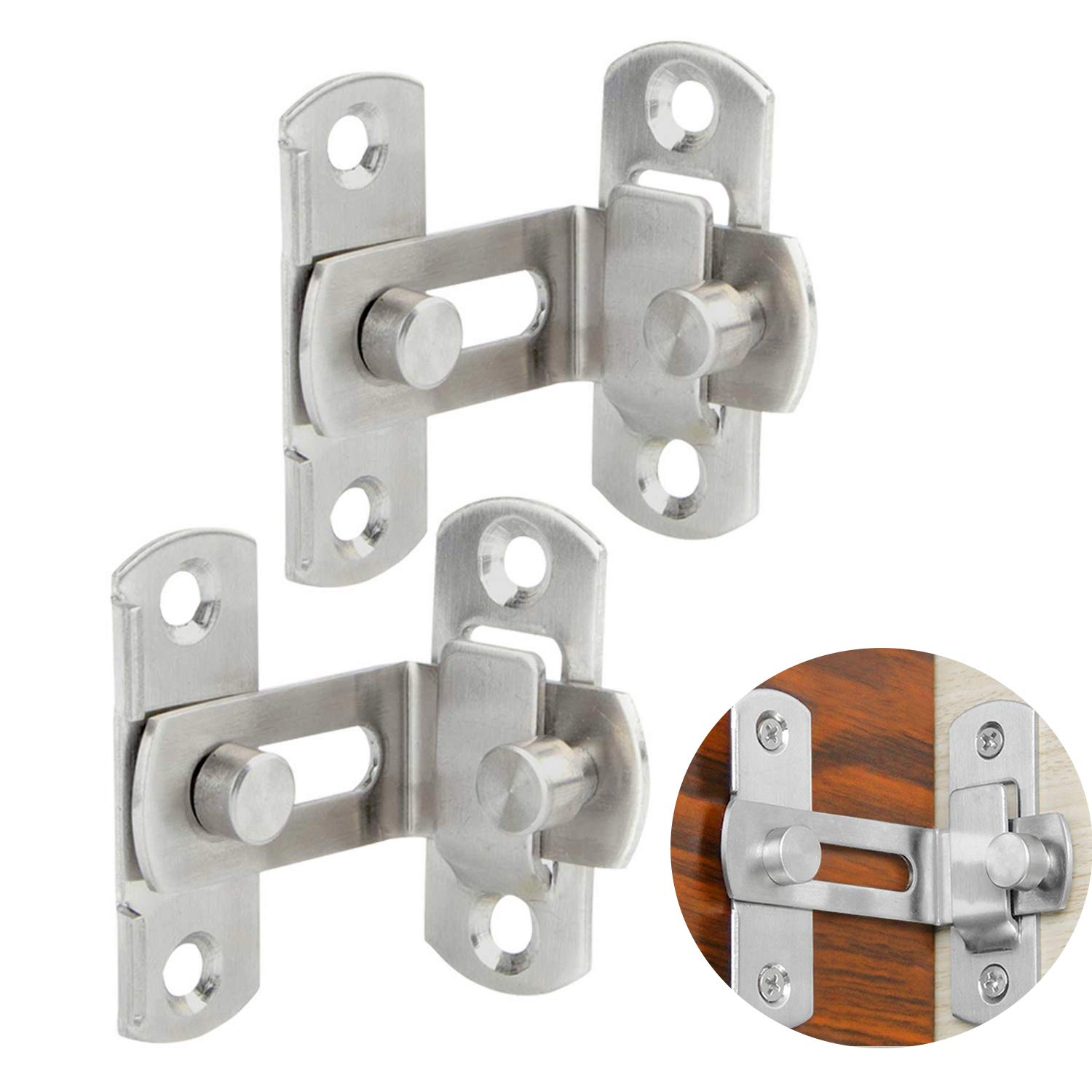 Gizhome 2 Pack 3 Inch 90 Degree Right Angle Door Latch Hasp Bending Latch Buckle Bolt Barn Sliding Lock Barrel Bolt with Screws for Toilet Doors and Windows
