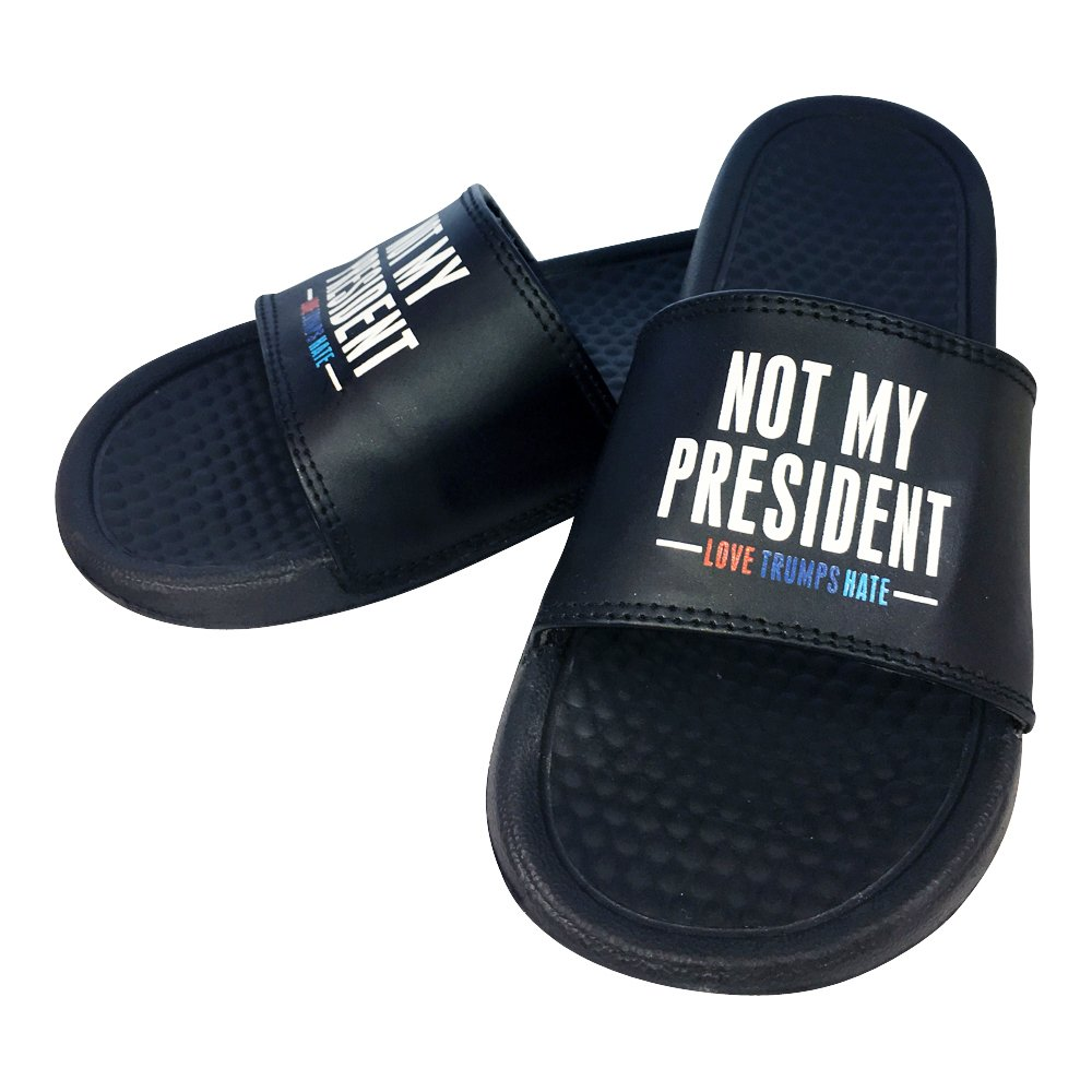 Not My President,Love Trumps Hate Slide Slippers | Hilarious & Fun Novelty,Gag Unisex Indoor & Outdoor (7)