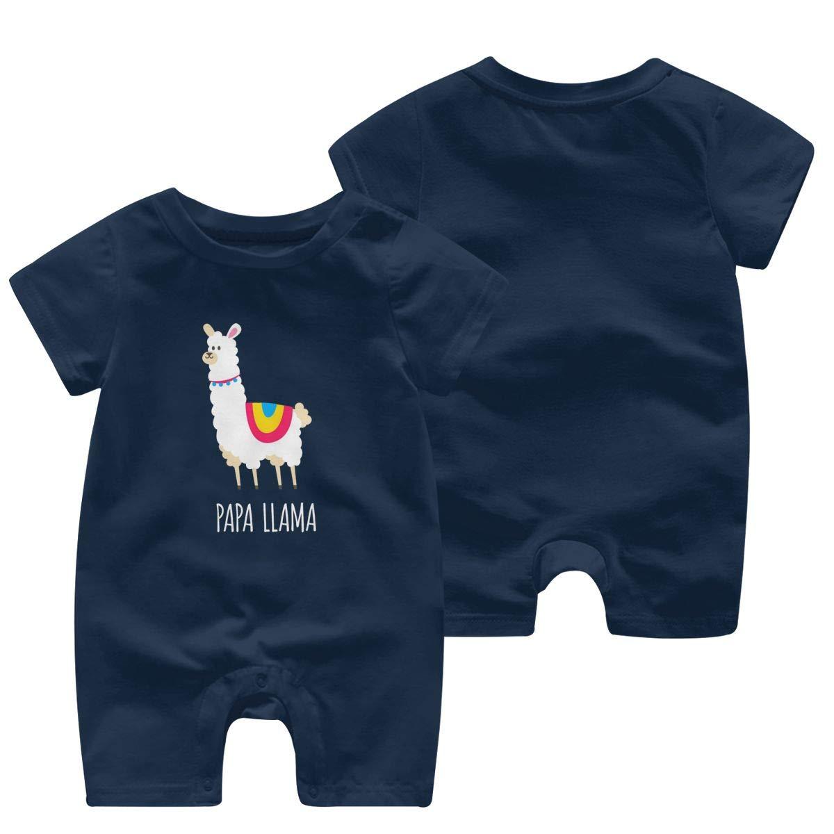 Baby Boys Girls Short Sleeve Jumpsuit PAPA Llama Cotton Romper