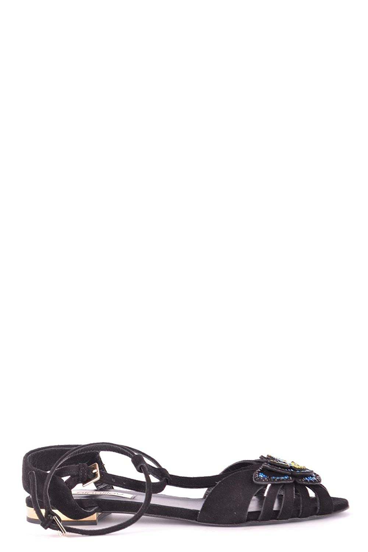 - NINALILOU Women's MCBI35173 Black Suede Sandals