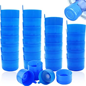 30 Pack Gallon Water Bottle Caps,Non Spill Water Bottle Caps for 55mm 3 and 5 Gallon Water Jugs,Non Spill Caps Reusable Snap on Cap