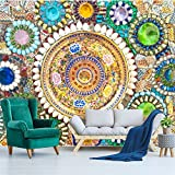 LHDLily 3D Wallpaper Mural Wall Sticker Thickening Custom European-Style Retro Bohemian Jade Mosaic Collage Background 350cmX250cm