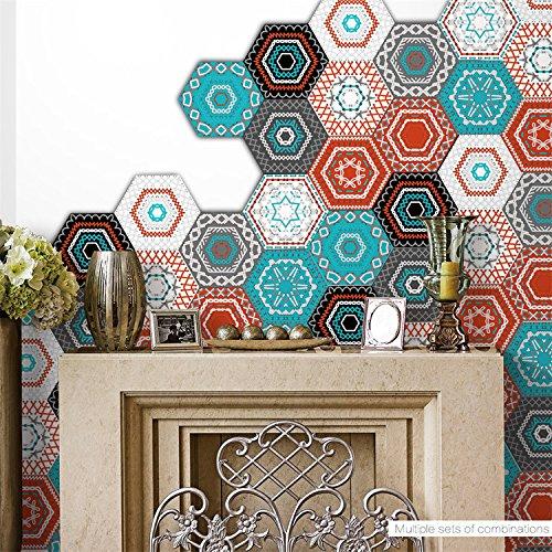 Room Decor Pattern - AmazingWall Colorful Embroidery Pattern Wall Sticker Art Decor Mural Decal Living Room Bedroom Anti Skip 4.53x7.87 10 Pcs/Set