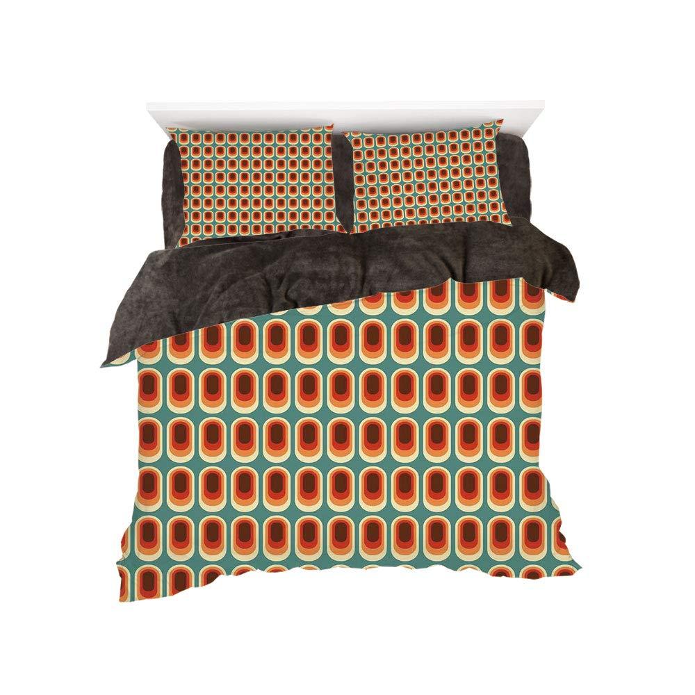 iPrint フランネル布団カバー4点セット ベッドリネン 冬休み柄 レトロ ポップアートスタイル オールドファッショナブル タクシーキャブ グランジ効果 ヴィンテージカーグラフィック装飾 ベージュ イエロー ルビー bed width 5ft(150cm) BotingFLR_hei_16638_queen 150 B07L1X52TF カラー18 bed width 5ft(150cm)