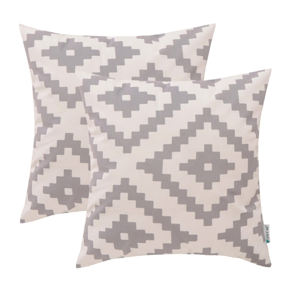 HWY 50 Polyester Fleece Comfortable Decorative Throw Pillow Covers Sets Cushion Cases for Couch Sofa Bed Living Room Grey Gray European Geometric Diamond 18 x 18 inch 45 x 45 cm Pack of 2 COMIN18JU090779