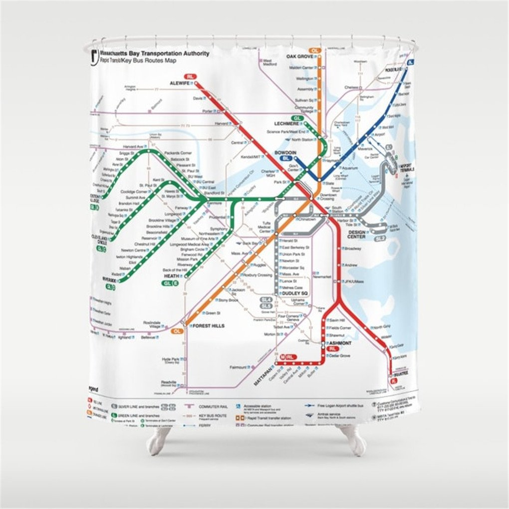 Alewife Subway Map.Weeya Boston Metro Map Shower Curtain 60x72 Inch