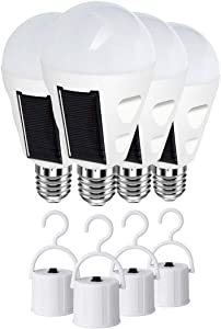 4 Pack LED Solar Emergency Lights Bulbs for Home Power Failure, E26/E27 7W 700LM Rechargeable Battery Operated Bulb, Hurricane Supplies for Home, 6000k Outdoor Hiking Fishing Camping Tent Lighting