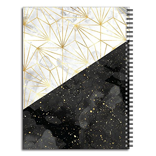 Specks of Gold Personalized Modern Marble Spiral Notebook/Journal, 120 College Ruled or Checklist Pages, durable laminated cover, and wire-o spiral. 8.5x11 | 5.5x8.5 | Made in the USA Photo #4