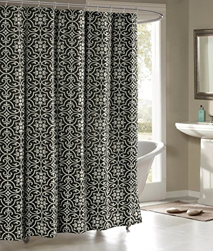 - Creative Home Ideas Allure Printed Cotton Blend 72 in. x 72 in. Shower Curtain in Charcoal