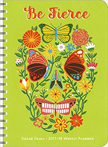sugar skull 2016 2017 on the go weekly planner 17 month calendar with pocket