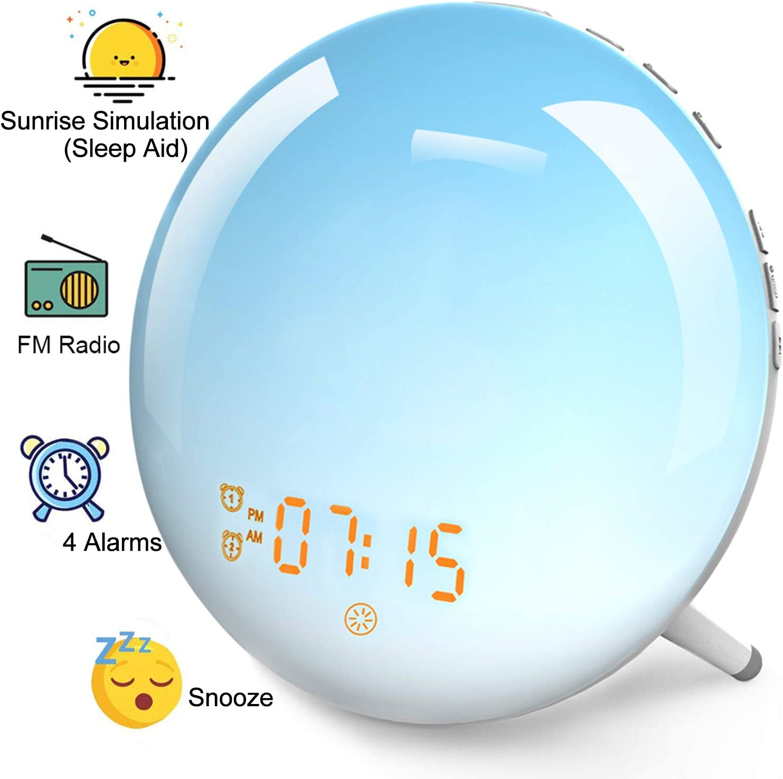Wake-Up Light Sunrise Alarm Clock - Natural Light Alarm Clocks,with FM Radio,Sunrise/Sunset Simulation,Snooze,Sleep Aid,Nightlight,USB Charger,4 Alarms,7 Sounds.20 Brightness,for Kids,Heavy Sleepers