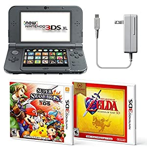 Black Nintendo 3DS XL Bundle Nintendo, AC Adapter, and Two Full Games 3D Mode (Ages 7+ Years) from Nintendo