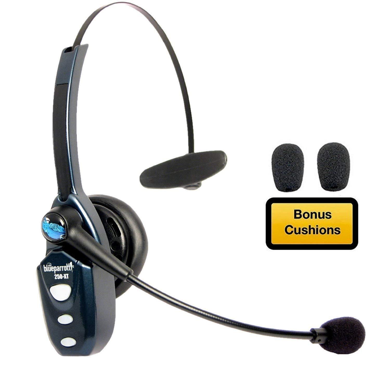 BlueParrott B250-XT Bluetooth Headset 204123 Bundle - Includes B250-XT Trucker Bluetooth Headset w/ Bonus Mic Foam Cushions | Auriculares Bluetooth Inalambricos de Blue Parrot