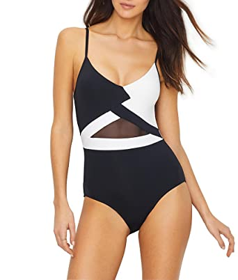 69ceb8e34f7 Anne Cole Women's Mesh Black and White V Neck Sexy One Piece Swimsuit, ...