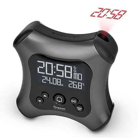 Oregon Scientific RM330P_GR - Despertador digital retroiluminado controlado por radio con proyector y temperatura interior, gris oscuro