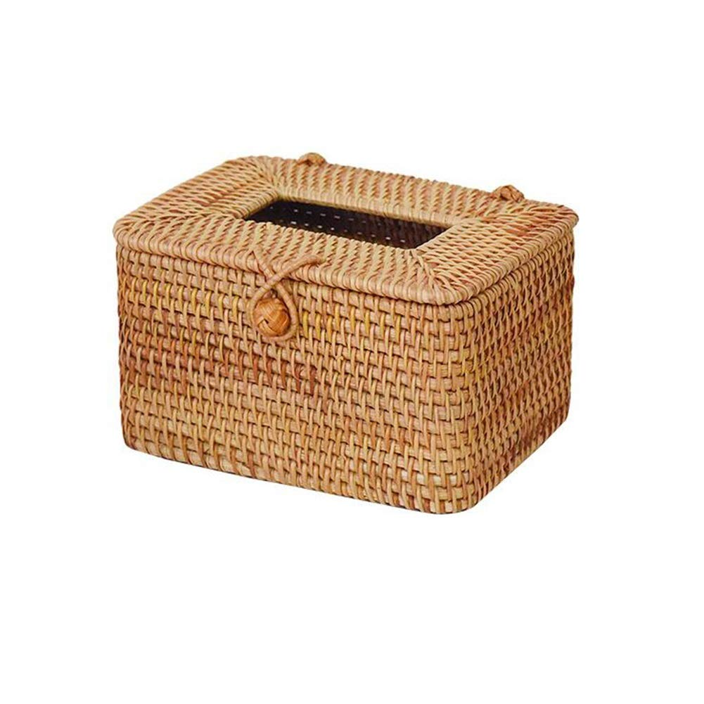 T1 16x12x9.5cm MUMA Storage Box Handwoven Rattan Tissue Box Home Organizer Bins (color   T1, Size   21x12x11cm)