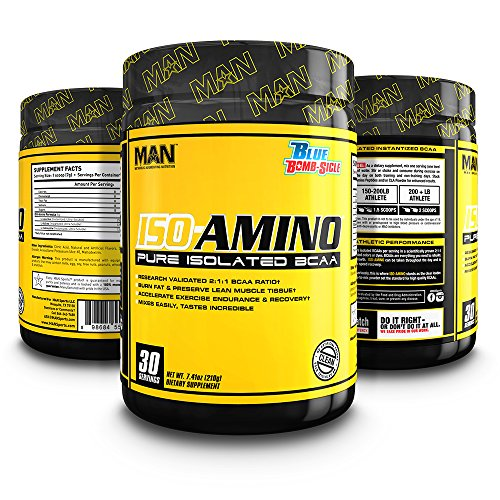 MAN Sports ISO-Amino BCAA Amino Acid Powder, Blue Bomb-Sicle, 30 Servings, 210 Grams
