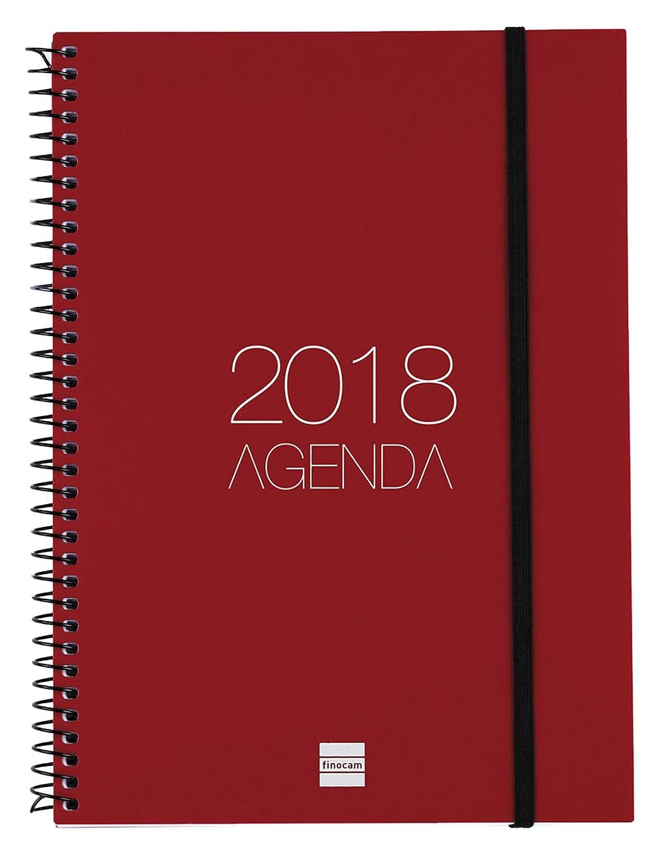 Finocam Espiral Opaque - Agenda 2018, semana vista vertical, español, 155 x 215 mm, 80 g/m², color burdeos