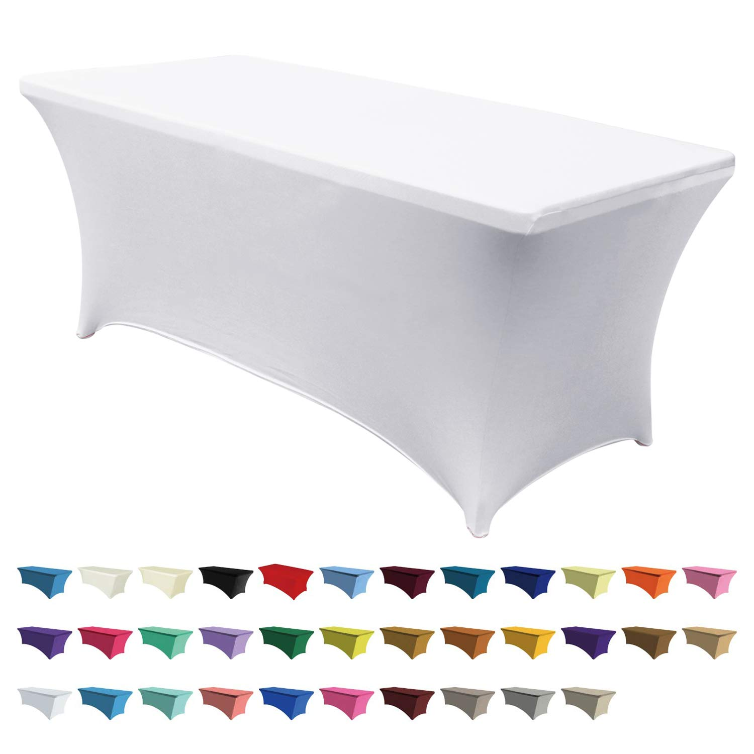 "ABCCANOPY Spandex Table Cover 8 ft. Fitted Polyester Tablecloth Stretch Spandex Table Cover-Table Toppers White, 96"" L x 30"" W x 30"" H"