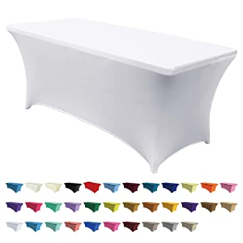 Abccanopy Spandex Table Cover 6 Ft Fitted 30 Colors Polyester Tablecloth Stretch Spandex Table Cover Table Toppers 6 Ft Table Cover White