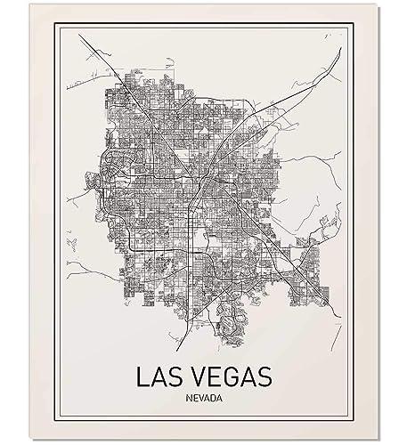 Amazon.com: Las Vegas Poster, Las Vegas Map, City Map Posters, Las ...