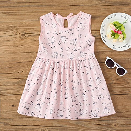 Transer Toddler Kids Baby Girls Dress Floral Print Sleeveless Princess Dress Outfits Pk
