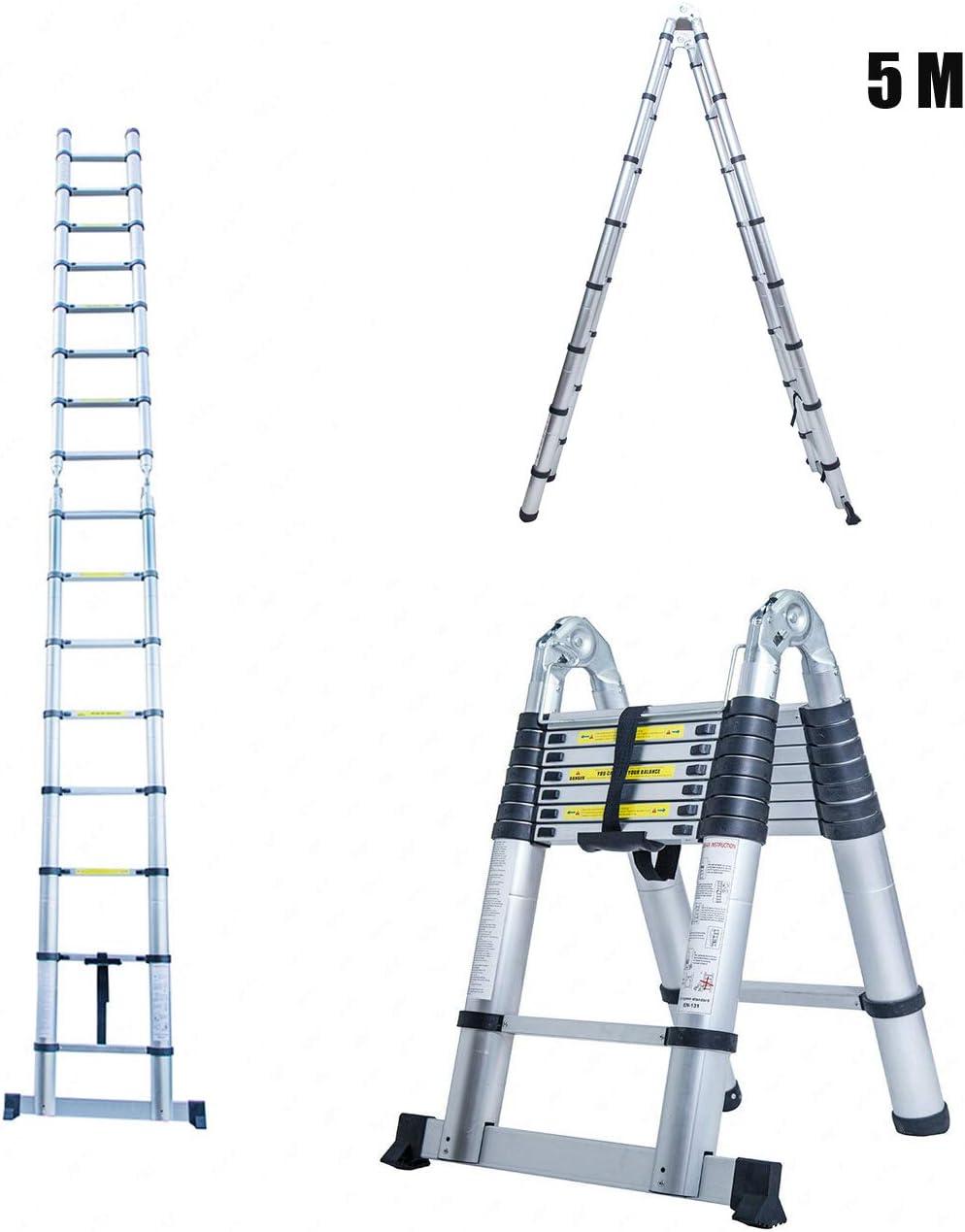 Escalera telescópica, escalera plegable, escalera doble, escalera doméstica, escalera de aluminio, 5 metros: Amazon.es: Bricolaje y herramientas