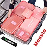 Mossio 7 Sets Packing Cubes for Travel - Bonus Shoe Bag Included - Lightweight & Durable Packing Bags - Great for Carry-on Luggage Accessories (Rose Red)
