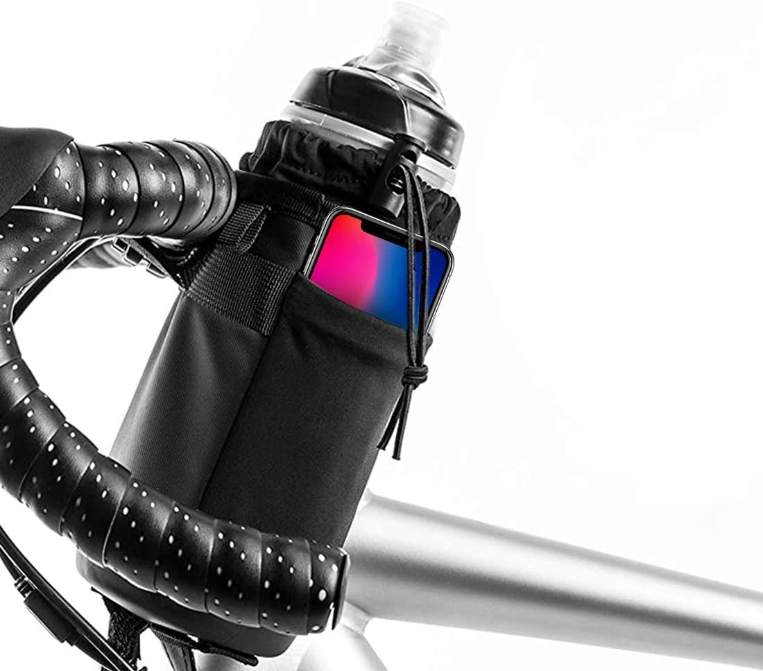 FOF Bike Handlebar Water Bottle Bag, Handlebar Cup Drink Holder Insulated Stem Bag Bicycle Water Bottle Drink Holder Food Snack Storage Bag Pouch with Removable Shoulder Strap for All Bikes
