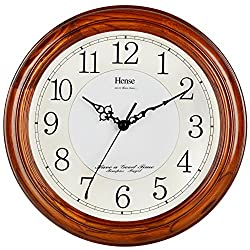 HENSE 13-inch Large Solid Platane Wood Wall Clock Living Room Modern Clock Mute Simple Quartz Clock with Big Arabic Numerals and Fine Texture HW13 (HW13 #C-DB)