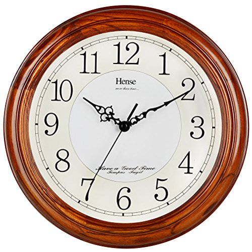 - HENSE 13-inch Large Solid Platane Wood Wall Clock Living Room Modern Clock Mute Simple Quartz Clock with Big Arabic Numerals and Fine Texture HW13 (HW13 #C-DB)