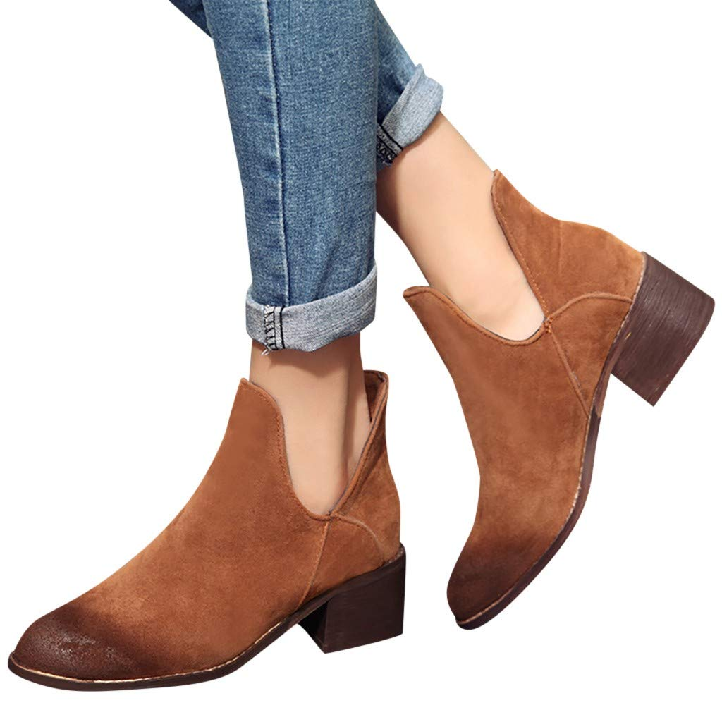 Women's Block Chunky Heel Ankle Booties Slip on Cut Out Chelsea Boots Comfortable Travel Shoes (Brown, US:9.0)