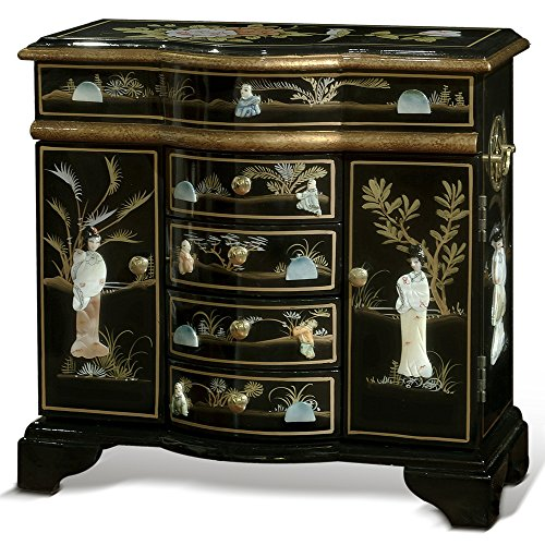 - ChinaFurnitureOnline Black Lacquer Jewelry Cabinet, Hand Painted with Courtly Maidens Mother of Pearl Inlay Motif Jewelry Cabinet