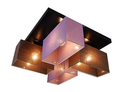 Deckenlampe HausLeuchten JLS45BRLID-WENGE Sockel aus Holz 45x45 cm ...