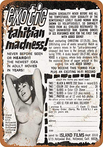 Tengss 8 x 12 Metal Sign - 1965 Exotic Tahitian Madness Adult Films - Vintage Look - Tahitian Sign