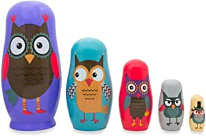 ". Nesting dolls.Matryoshka /""Owls family/"" 4/""tall,5 pieces inside"