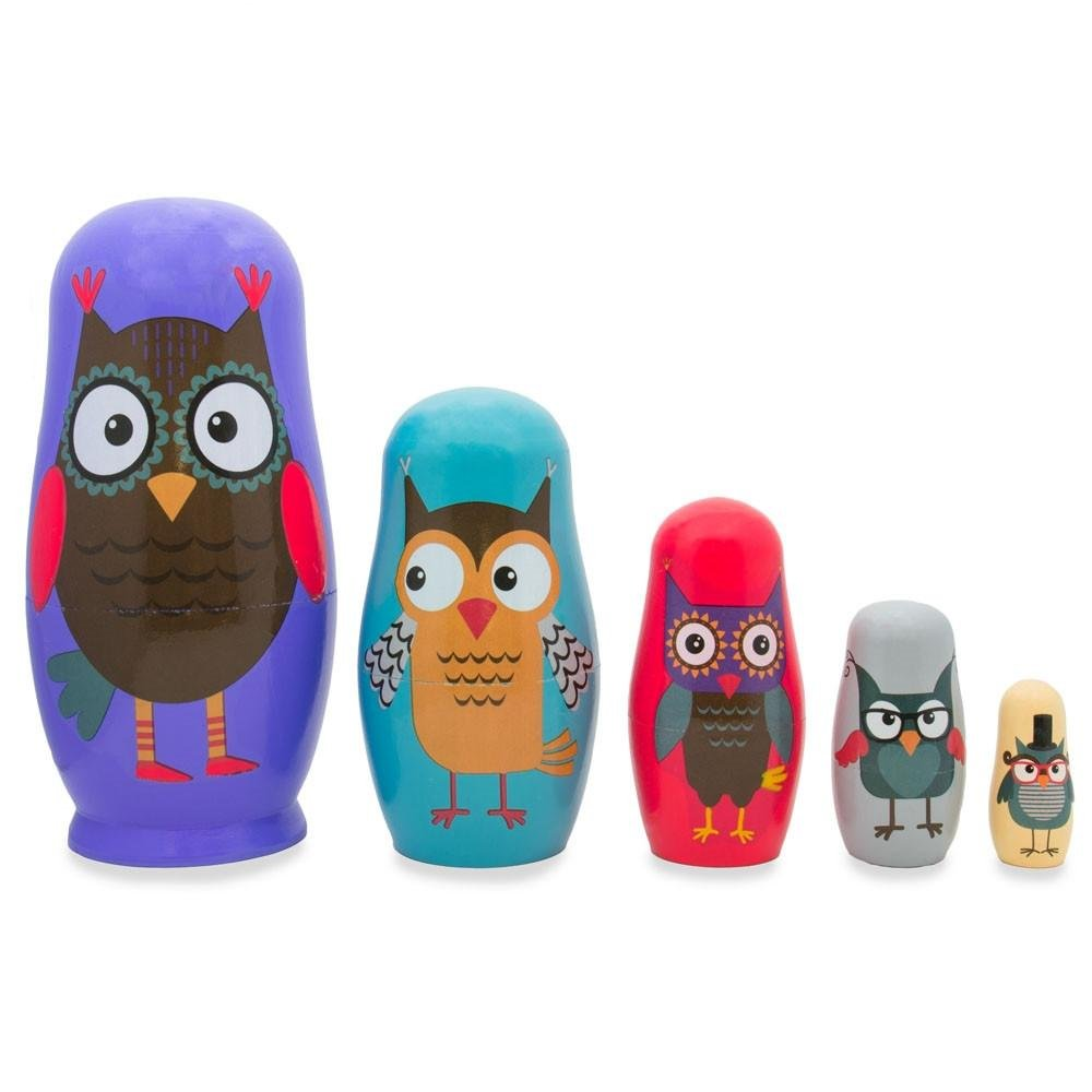 Set of 5 Wise Owls Family Wooden Nesting Dolls 5.75 Inches