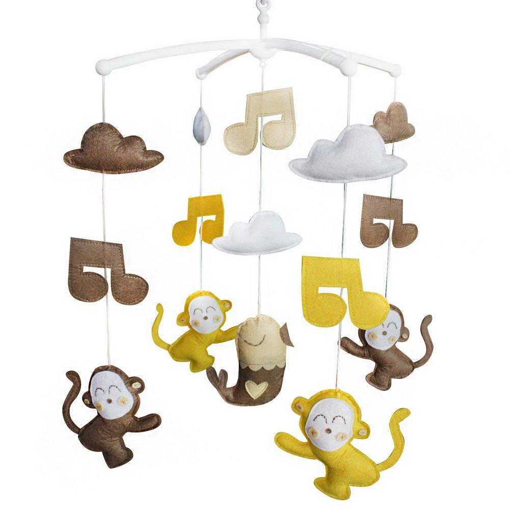 Hecho a mano cuna musical móvil [monos] colorida decoración de la habitación, hermoso juguete