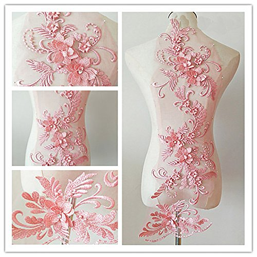 3D beaded flower sequence lace applique motif sewing bridal wedding 3in1 20cmx72cm (Dark Pink)