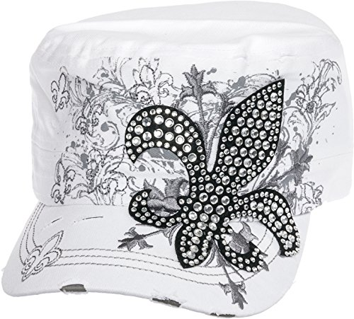 Crystal Case Womens Cotton Rhinestone Fleur de Lis Cadet Cap Hat (White)