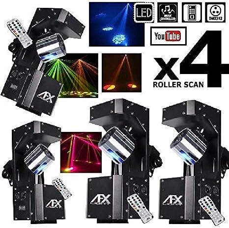 Juego de Lumiere Pack 4 scans roller10led DMX Pa DJ Sono LED ...