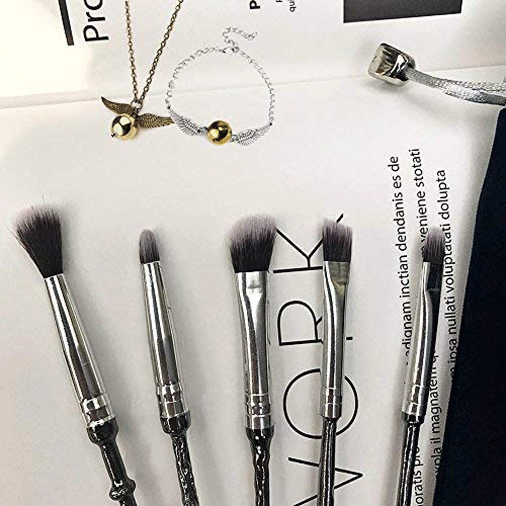Wizard Wand Potter Makeup Brushes, 5 Set Eye Eyeshadow Blending Brushes Cosmetic Makeup Tool with Potter Necklace/Bracelet & Gift Bag